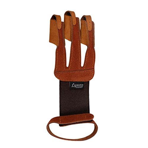 MagiDeal Traditionell Schießhandschuh Bogensport Bogenschießen Handschuh, beidhändig 3 Finger Handschuh