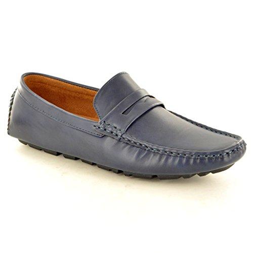 Herren-Mokassins aus Kunst-Wildleder, Slip-On-Schuhe, Halbschuhe Navy Blue PU