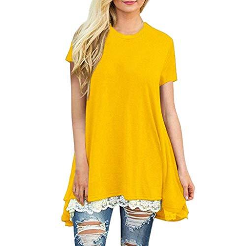 Luckycat Mujer Camiseta T-Shirt Mini Vestido Verano Encaje Dobladillo Túnica Tops Estival...