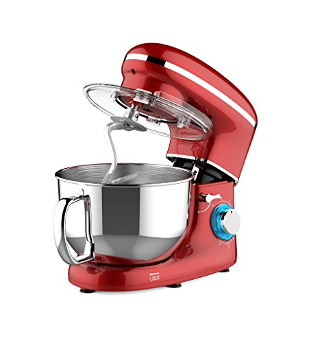 Heska -1500W Food Stand Mixer – 4-in-1 Beater / Whisk / Dough Hook / Flex Edge Beater – 5.5 Litre Mixing Bowl with Splash Guard (Red)