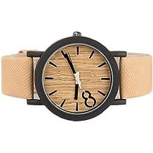 E9Q Hombres impermeable de los de la aleación Correa de cuero simulado de madera del análogo de cuarzo reloj de pulsera