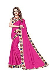 Bhuwal Fashion Womans CHANDERI silk KALAMKARI saree with Blouse (BLUE) (PINK)