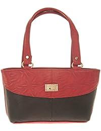 Aliado Faux Leather Solid Red & Black Zipper Closure Handbag For Women For Women