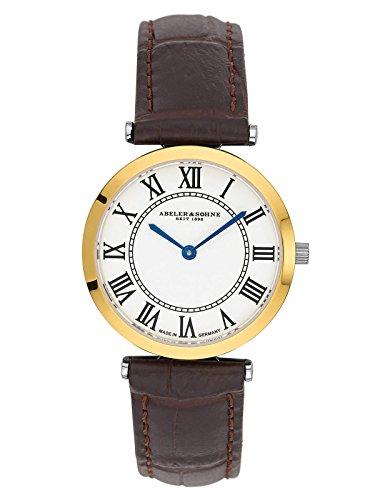 Abeler & Söhne fabricado en Alemania bicolor Mujer Reloj con cinta de piel y cristal de zafiro as3202