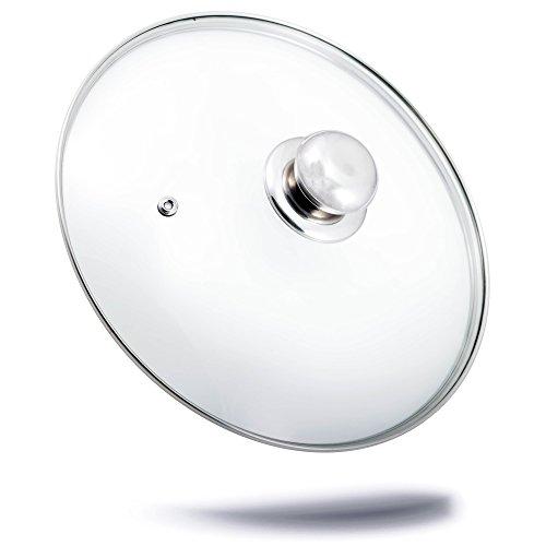 Topfdeckel Glas (Ø 26 cm) / spülmaschinenfest / hitzebeständiger Universaldeckel für Topf und Pfanne / aus gehärtetem Qualitätsglas / Glasdeckel mit Dampfloch / hochwertiger Griff aus Edelstahl