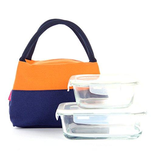 Vbiger Borsetta con chiusura a zip Borsa pranzo con tela riutilizzabile per donne (rosa) arancia