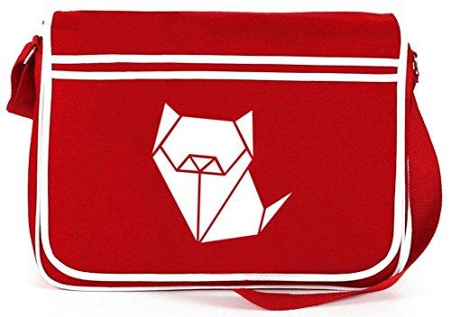 Shirtstreet24, Tangram Hund, Tier Mops Boxer Retro Messenger Bag Kuriertasche Umhängetasche Rot
