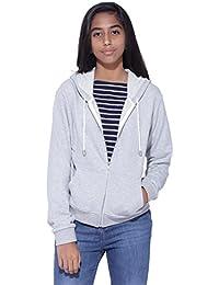 Genzee Girl's Crop Loop Knit Hoodie Jacket - Grey