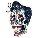 "Sunny Buick - Rockabilly Sugar Skull Afterlife autocollant Sticker - 3 3/4""w x 5""h - Weather Resistant, Long Lasting for Any Surface"