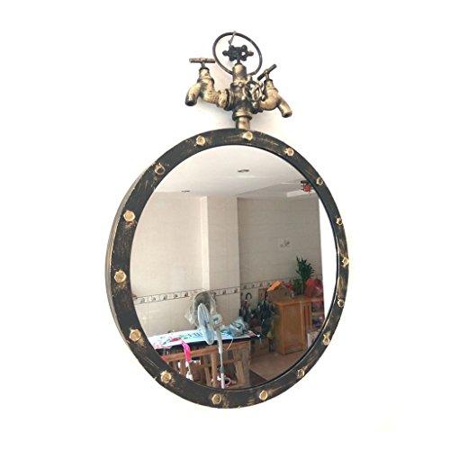 Specchio specchio rotondo di ferro vento industriale retrò tubazione acqua barber shop specchio flessibile parrucchiere wall-mounted singolo specchio specchio