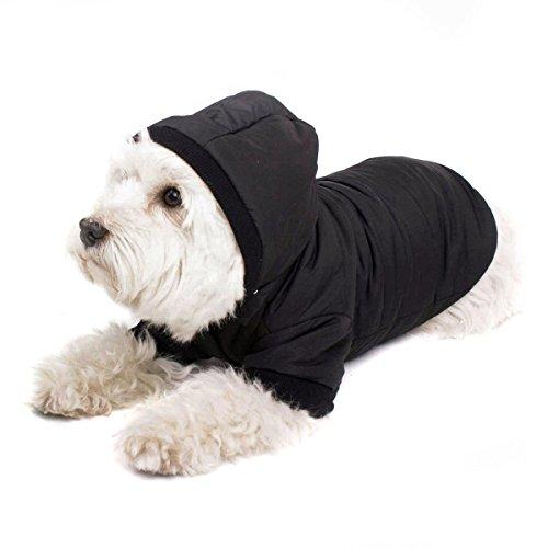 Schwarzer Hundemantel mit Kapuze; Schicke Hunde-Jacke Hundeanorak für Ihren Hund; Größe M (36cm)