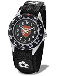 Premiership Footbal Velcro Children's Quartz Watch with Black Dial Analogue Display and Black Fabric and Canvas Strap GA3713