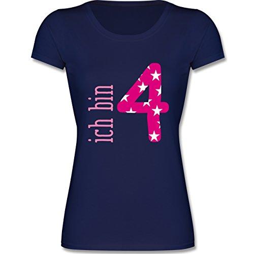 Geburtstag Kind - Ich Bin 4 Rosa Mädchen - 116 (5-6 Jahre) - Dunkelblau - F288K - Mädchen T-Shirt