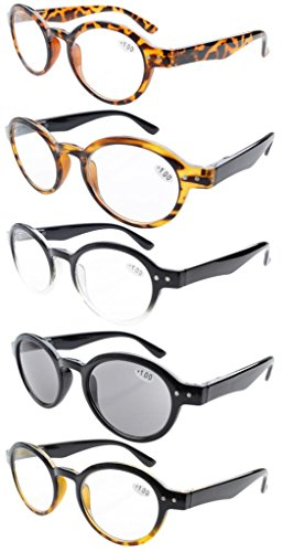 eyekepper-lot-de-5-lunettes-de-vue-de-lecture-de-differente-couleur-ronde-retro-de-excellente-qualit