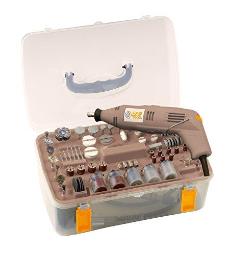 Fartools One MG 130 Mini-Schleifmaschine mit Koffer mit 210 Zubehörteilen, 130 W