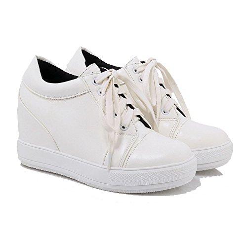 VogueZone009 Femme Lacet à Talon Haut Pu Cuir Couleur Unie Rond Chaussures Légeres Blanc