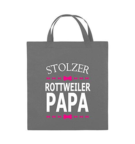 Comedy Bags - Stolzer Rottweiler Papa - Jutebeutel - kurze Henkel - 38x42cm - Farbe: Schwarz / Weiss-Neongrün Dunkelgrau / Weiss-Pink