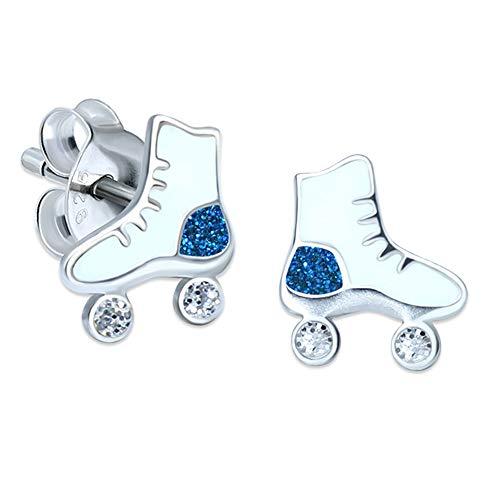 Inmaculada Romero Skates Ohrringe Sterling-Silber 925 Blau Glitzer