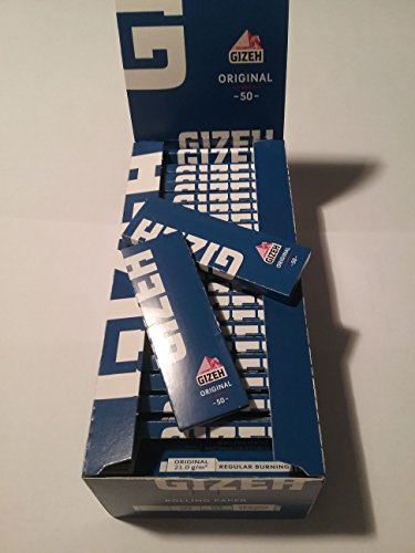 Confezione da 50cartine per sigarette, Gizeh Blu originali, 70mm 21gr/m.