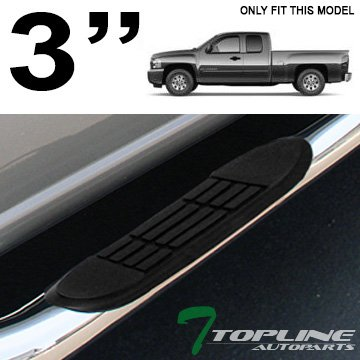 VioGi Fit:99-13 Silverado/Sierra 1500/2500/3500 Extended Cab (w/ 2 Full Size Front Doors+ 2 Half Size Rear Doors Only) 3 Round Tube S/S Side Step Rails Nerf Bar Running Boards by VioGi