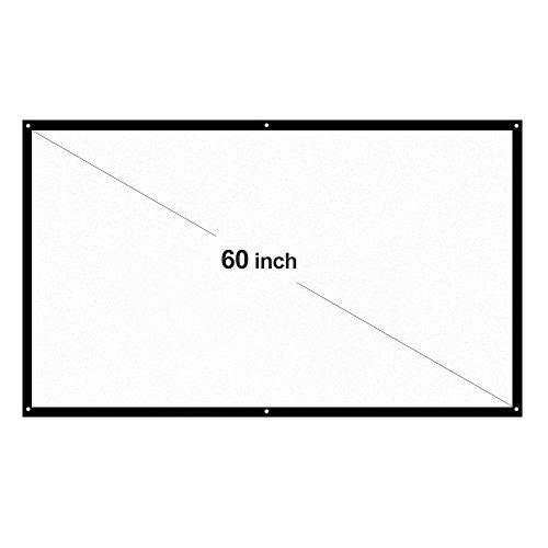 """Docooler H60 60\""""Beweglicher Projektor-Schirm HD 16: 9 Weiß 60 Zoll-diagonaler Projektions-Bildschirm faltbares Heimkino für Wand-Projektion zuhause draußen"""