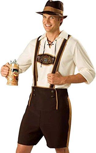 Herren Oktoberfest Kostüm, Herrenkostüm Trachten Set Bavarian Guy Hosen Kostüm Set, Kurze Hose mit Hosenträgern, Oberteil und Hut (Kurzer Kostüm Set)