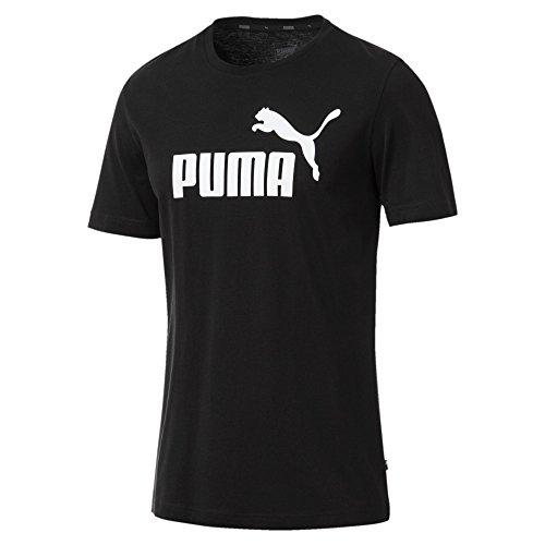 Puma Herren T-Shirt Essentials Tee – Casual Baumwoll-Shirt mit geripptem Rundhals-Kragen Logo Essentials Tee Cotton Black XL