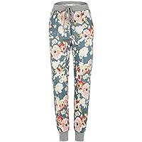 Pantalon Femmes, Toamen Pantalon à imprimé floral Pantalon décontracté à cordon Taille moyenne Femmes (XL, Bleu)