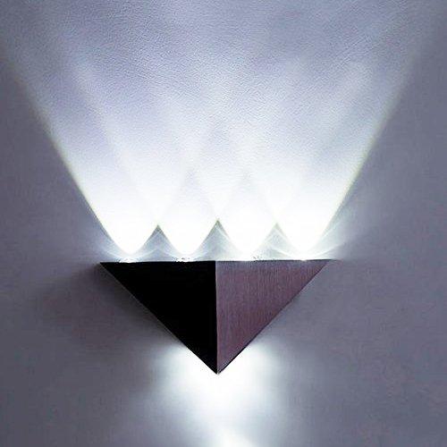 ETiME LED Wandleuchte Wandlampe 5W Dreieckig Flurlampe Wandbeleuchtung Treppenleuchten Designerlampen innen Aluminum (Kaltweiss 5W)