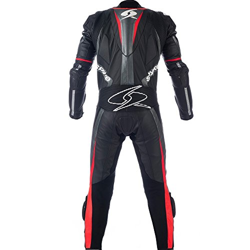 Motorbike-Leather-Racing-Suit-Spyke-TOP-SPORT-MIX-Kangaroo-1pc-for-Men-BlackAnthracitered-eu-60-4-x-lUK-50-4-x-lUS-50-3-X-L