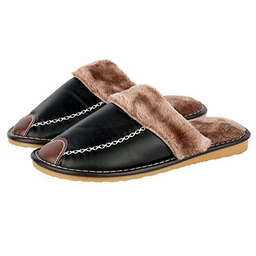 Haisum Uomo Caldo Biancheria all'aperto Antiscivolo Ciabatte punta aperta Lusso Pantofole Black