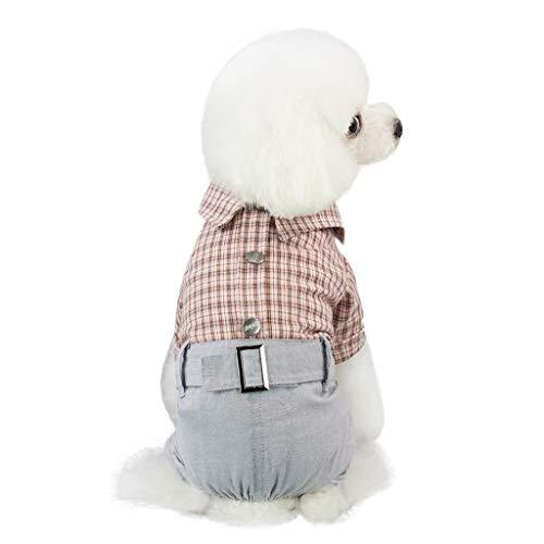 Baumwolle Kostüm Plaid - Winkey  Kleidung für Hunde, Neue Hund Kleidung Welpen Katze Plaid Overall Warme Baumwolle Pyjamas Kostüm