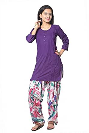 Purple Solid Cotton Straight Salwar Suit