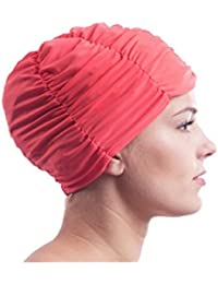 Damen Stoffbadehaube mit Folieninnenhaube Badehaube Stoffbadekappe Stoff Bademütze Turban Style