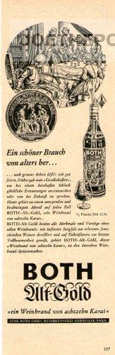 50er Jahre - Anzeige / Inserat : BOTH ALT-GOLD WEINBRAND / EIN SCHÖNER BRAUCH - Format 210x70 mm -...
