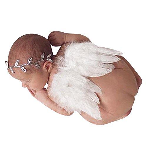 Everpert - Alas de plumas de ángel + diadema de hojas para fotografía de bebé recién nacido