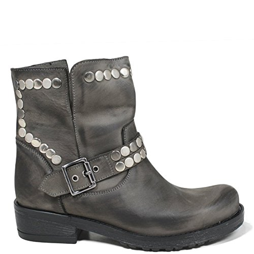 Stivali Stivaletti Biker Boots Donna In Time 0164 Grigio con Borchie in Vera Pelle Made in Italy