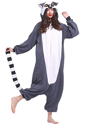 Jumpsuit Onesie Tier Karton Fasching Halloween Kostüm Sleepsuit Cosplay Overall Pyjama Schlafanzug Erwachsene Unisex Lounge Kigurumi Schwarzbinden Lemur for Höhe 140-187CM