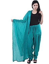 Rajat Fashions Women's Cotton Full Patiala Salwar & Dupatta Set Colour : Rama Green Colour Plain