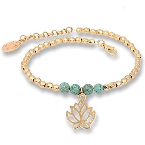 """""""Turquoise Golden Lotus"""" – Bracelet fait des Sparkling Beads avec turquoise. Le bracelet en tissu est une idée de cadeau insolite pour femmes."""