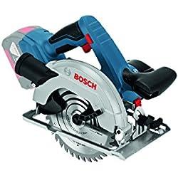 Bosch Professional Scie Circulaire Electrique Click&Go Sans Fil GKS 18 V-57 G Solo (2 batteries 5.0 Ah, 18V, Ø de la lame de scie : 165 mm, Capacité de coupe maxi dans le bois (90°) : 57 mm, L-Boxx)