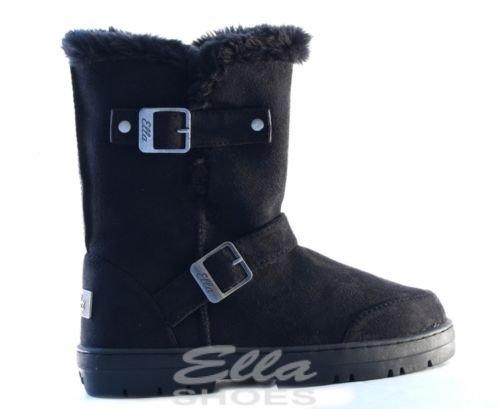 Ella Vegan Alex Bottes pour femme 2Boucles En daim Noir - noir