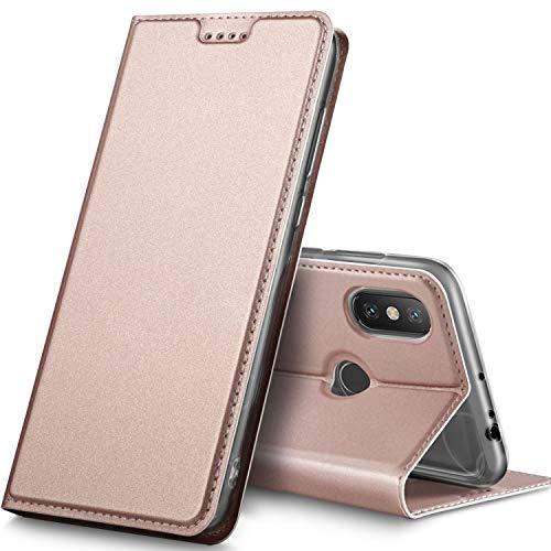 Geemai Funda Xiaomi MI MAX 3, Slim Case Protectora PU Funda Multi-ángulo a Prueba de Golpes y Polvo a Prueba de Silicona con Soporte Plegable para Xiaomi MI MAX 3.(Oro Rosa)