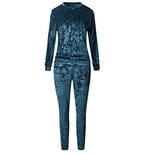 LINNUO Damen Trainingsanzüge Unifarben Zweiteiliger Velour Anzüge Langarm Rundkragen Tops T Shirt Pullover + Hose Streetwear -
