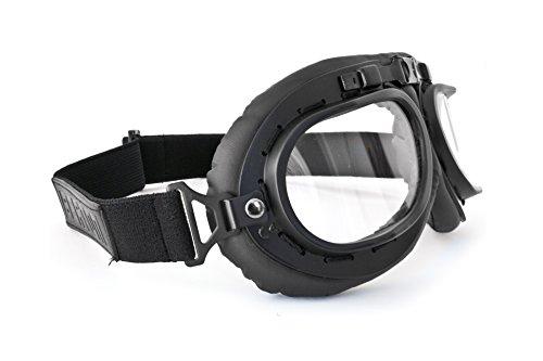 Gafas de Moto Mascara Vintage style lente clara by Bertoni Italy – AF195 negra – Gafas Motoristas para Cascos Moto Harley y Chopper