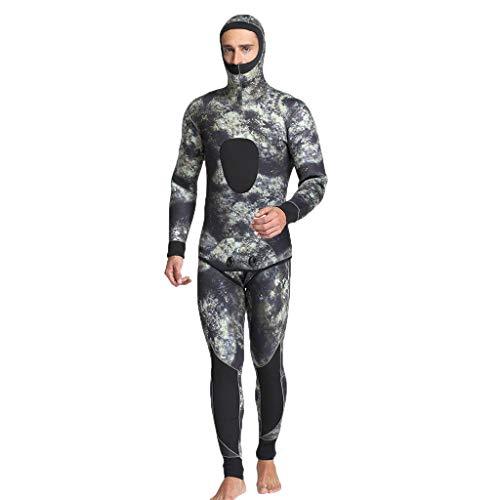 AmyGline Herren Camo 5mm Neopren Thermal Neoprenanzüge Hooded Scuba Spearfishing Tauchanzug 2 Stück Badeanzug Jacken Hosen Einteiler Swimsuit Wetsuit