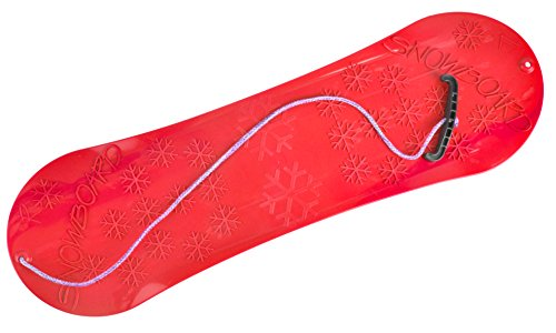 SNOWBOARD FÜR KINDER SCHLITTEN BOARD 77cm Kunststoff mit Seilgriff Plastik (Rot) (Ziehen Schlitten Für Kinder)