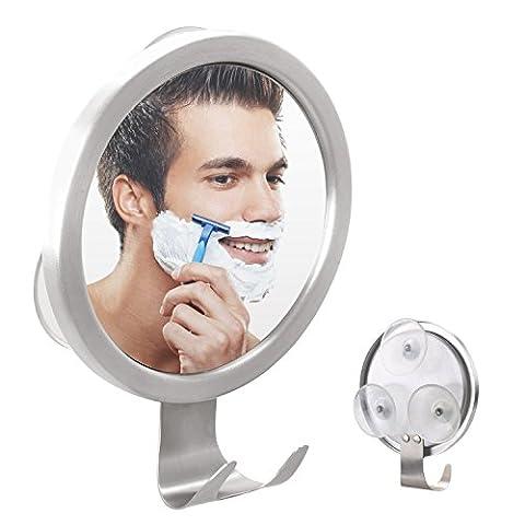 GlobaLink® Duschspiegel Antibeschlag Rasierspiegel Badspiegel mit Haken und Einstellbarer Wandspiegel mit starkem Saugnapf, Kosmetikspiegel Wandspiegel Schminkspiegel für Badezimmer, Duschen, Schminken (Doppelseitige Beleuchteter Make-up-spiegel)