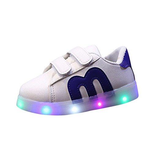 YanHoo Zapatos para niños Calzado Brillante LED Masculino y Femenino Zapatillas de Skate para niños pequeños Zapatos de bebé para niños Zapatillas de Deporte con luz