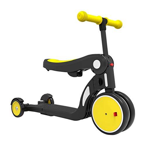 Dreiräder Trike Five-in-One Kinder-Dreiräder Leichte Fahrräder 1-5 Jahre Kinder-Scooter Baby-Scooter Verschiedene Anpassungen Kinderspielzeug Jungen Und Mädchen 2 Farben (Color : Yellow)